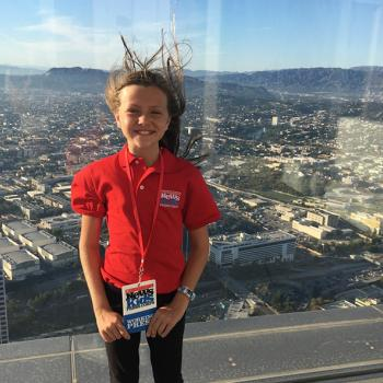 Annika on the 70th floor of the US Bank Tower
