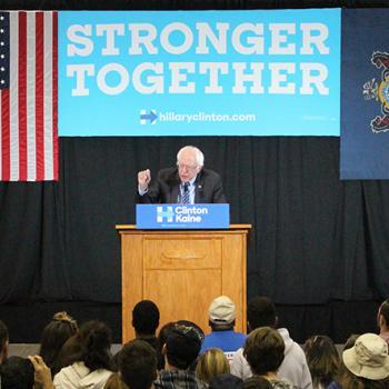 Former Presidential candidate Senator Bernie Sanders campaigns for Hillary Clinton in Scranton Pennsylvania.