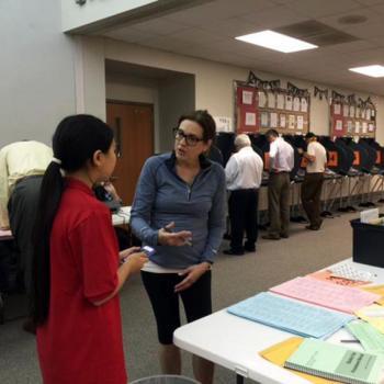 Bridget interviews Lori Petrone, a volunteer at a polling place in Austin, Texas.