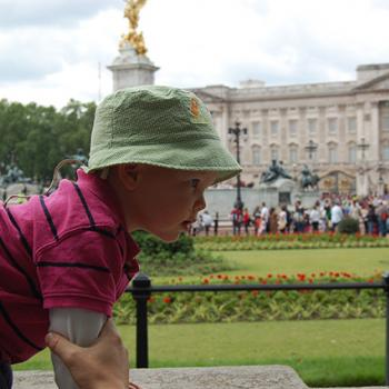 The author's younger brother in front of Buckingham Palace, the Queen's residence in London