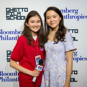 Charlotte with student playwright Elsa Chung at a script reading hosted by Bloomberg Philanthropies in New York City