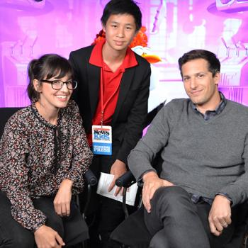 Jeremy with Storks actors Andy Samberg and Katie Crown