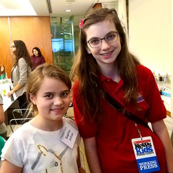 Sophia Julius of Fairfax, Virginia, with Lillian Lilian with Sophia Julius, a Girl Scout and aspiring inventor, at a STEM event in Washington, D.C.