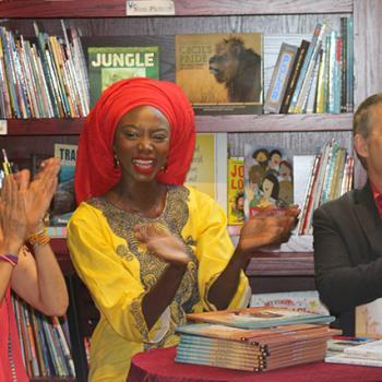Author Susan Verde, Illustrator Peter H. Reynolds and Burkina Faso born supermodel Georgie Badiel
