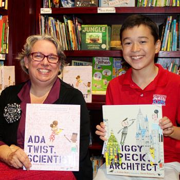 Max and children's author Andrea Beaty at The Blue Bunny Bookstore in Dedham, MA