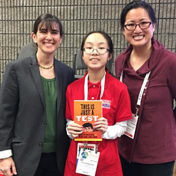 Victoria with Madelyn Rosenberg and Wendy Shang, co-authors of This Is Just a Test