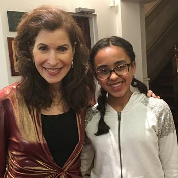 Sunaya with classical guitarist Sharon Isbin after her concert in Englewood, New Jersey, photo by Marla Burrough