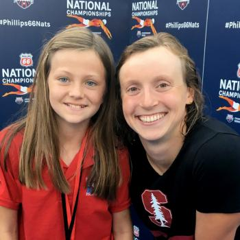 Annika with swimming superstar Katie Ledecky