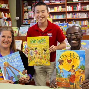 "Max with Katie Smith Milway and Kwabeno ""Kojo"" Darko at Wellesley Books in Wellesley, Massachusetts"