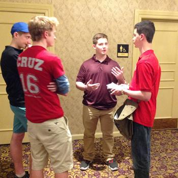 "Michael McIntyre (age 16), Sam Hiller (age 16) and Casey Krieger (age 16) talk to Erik about why they are supporting Cruz. ""He really cares."""