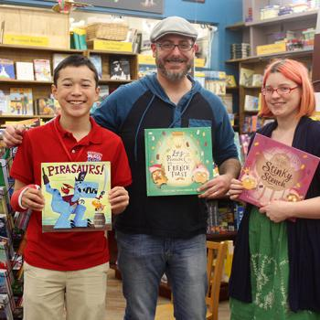 Max and Josh Funk and bookseller at Brookline Booksmith in Brookline, Massachusetts
