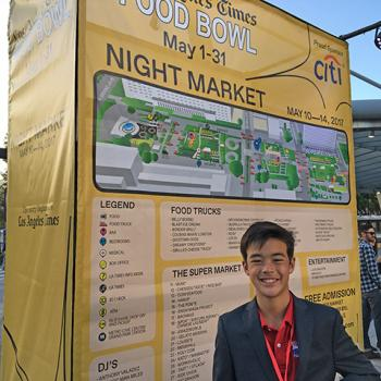 Kid Reporter Ben Jorgensen at the LA Food Bowl Night Market on May 13, 2017