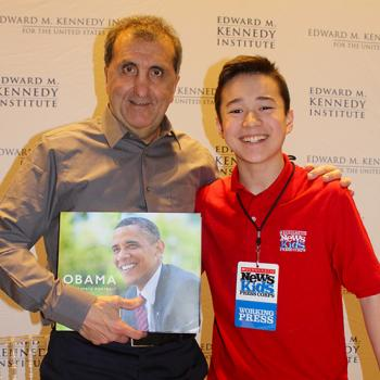 Max and Pete Souza at the Edward M. Kennedy Institute in Boston, Massachusetts