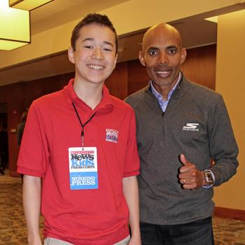 Max and Meb Keflezighi at pre-Boston Marathon event, sponsored by Generation UCAN, at the Westin Hotel in Boston's Seaport District