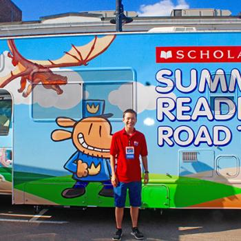 Max reporting at the Scholastic Summer Reading Road Tour at the Blue Bunny Bookstore in Dedham, MA