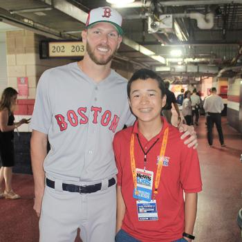 Max and Red Sox pitcher Chris Sale at media day before the All-Star Game