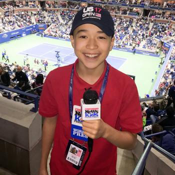 Max reporting from the U.S. Open at Arthur Ashe Stadium in New York City