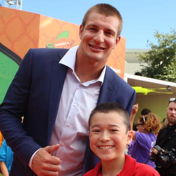 Max with Patriots tight end Rob Gronkowski