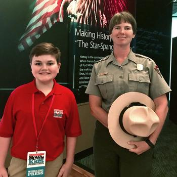 Nolan at Fort McHenry with National Park Service Ranger Shannon McLucas