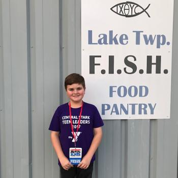 Nolan dressed and ready for his first Teen Leaders volunteer opportunity at Lake Township FISH Food Pantry.  Hartville, Ohio.