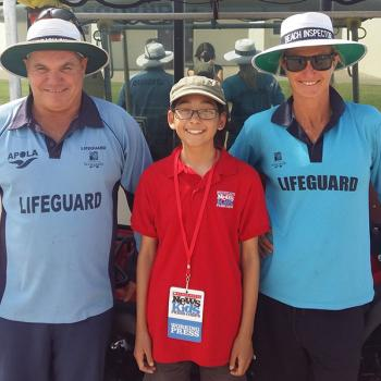 Helen with lifeguards Darren Toomey and Melissa Thurlow