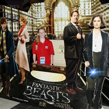 Skylar in front of the Fantastic Beasts display
