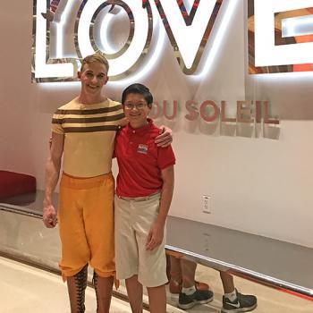 Cirque performer Justin Sullivan with Alex