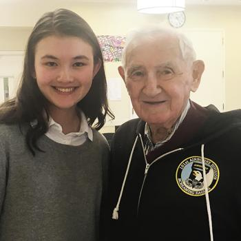 Charlotte with Holocaust survivor and veteran David Wisnia