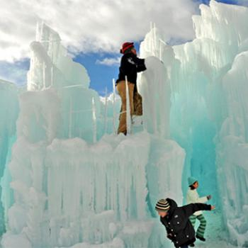 The Ice Castles at Silverthorne in Colorado were created by Brent Christensen and his partner, Ryan Davis. The structures soar as high as 40 feet and collectively weigh more than 10,000 tons.