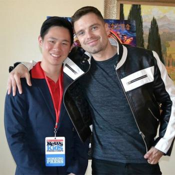 Jeremy with Sebastian Stan, who plays Bucky Barnes in the new Marvel sci-fi fantasy