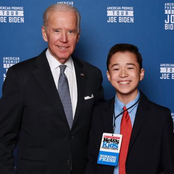Max and VP Joe Biden pose for a picture at the Wilbur Theatre in Boston