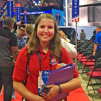 Scholastic News Kid Reporter Kyra O'Connor at the Republican National Convention in Cleveland, Ohio