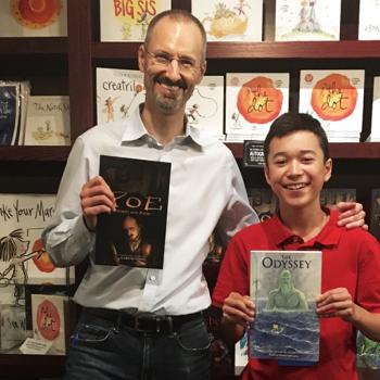 Max with author Gareth Hinds at Blue Bunny Books in Dedham, Massachusetts