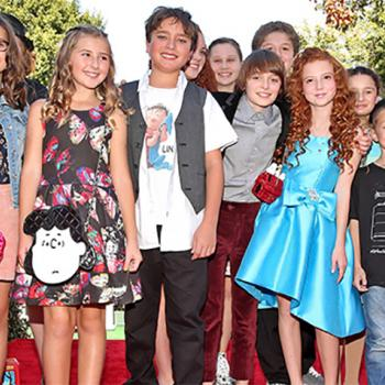 The cast of The Peanuts Movie at the world premiere in Westwood, California. Noah Schnapp (center) plays Charlie Brown.