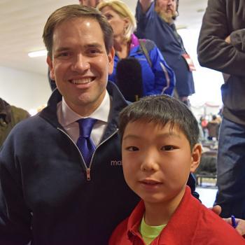 Senator Marco Rubio and Stone Shen at a Town Hall event at McKelvie Intermediate School in Bedford, New Hampshire.