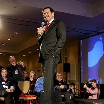 "Florida Senator Marco Rubio, a top Republican candidate for president, addresses voters at the ""First-in-the-Nation Presidential Town Hall"" on January 23 in Nashua, New Hampshire."