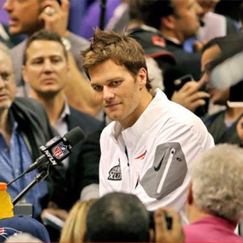 New England Patriots quarterback Tom Brady answers questions at Super Bowl Media Day.