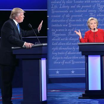 Donald Trump and Hillary Clinton face off during their first presidential debate.