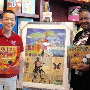 Max and Ekua Holmes at The Blue Bunny Bookstore in Dedham, Massachusetts